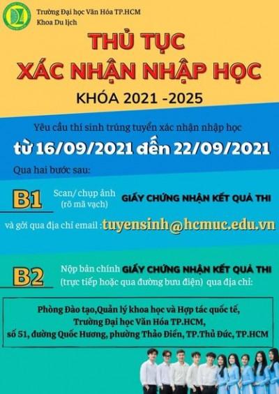 Thủ tục nhập học đối với thí sinh trúng tuyển bằng kết quả thi tốt nghiệp THPT năm 2021 (Khóa 2021-2025)